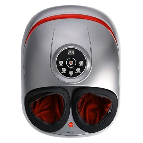 INTEY Fußmassagegerät Shiatsu elektrisches Fussmassagegerät mit Wärmefunktion, Entspannung, Kneten,Roller und 5 Luftkompression-Intensitätsstufen, 2 Modi, zu Hause/Büro