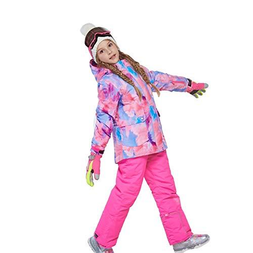 Peanutaod Charm Jungen Mädchen Winter Snowboard Skifahren Parka Jacke Schneelatz Schneeanzug Set Warmer Schneeanzug Kapuzen Skijacke + Hose 2er Set (Mädchen, Lange In Der Rückseite Jacken)