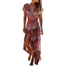 5478e7c04bb4 Donna Vestiti Lunghi Estive Stampati Floreale Abito Da Spiaggia Elegante  Bikini Cover Up Spacco Manica Corta