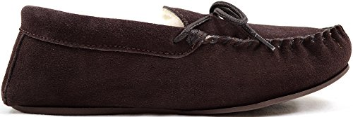 SNUGRUGS - Wool Lined Suede Moccasin With Rubber Sole, Pantofole Uomo Brown (Dark Brown)