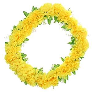 F Fityle Gran Crisantemo De Seda Memorial Flor Corona Cementerio Tumba Flor Decoración – Amarillo