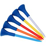 MagiDeal Set of 5 Plastic & Rubber Cushion Top Golf Tees Golfer Gift 70mm/2.75inch - Random Color