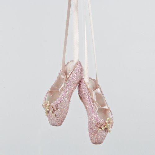 Kurt Adler Pink Glitter Ballet Shoes Christmas Tree Ornament T1483 New -