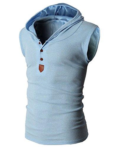 Boom Fashion Herren Top T-Shirt mit Kapuze Sport Elastizität Slim Fit Einfarbig Blau 01