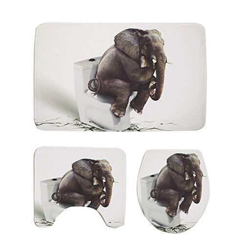 YANGWB2000 Asiento de Inodoro Elefante 3D, baño Antideslizante Alfombra Traje de Tres Piezas, Estera de baño, Estera del Piso, Estera Cubierta