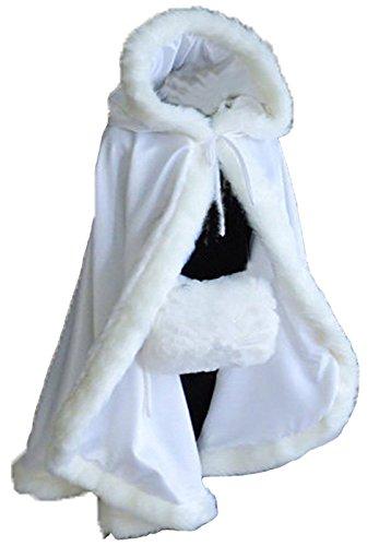 kivie kurz Umhang für Brautkleid mit Pelz 68 cm,verschiedene Farben (Weiß)
