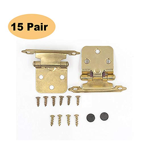 Messing gebürstet Küche Schrank Scharnier Variable Overlay Face Mount-peaha sch30bb Gold selbstschliessende Schrank Scharnier 30Pack (15Paar) Variable Overlay Messingfarben -