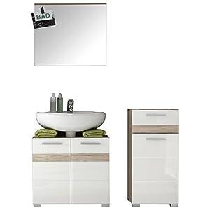 Trendteam Mueble, Set de 3 piezas, Korpus Eiche San Remo Hell (NB.), Front Weiß Hochglanz, 110 x 182 x 85 cm