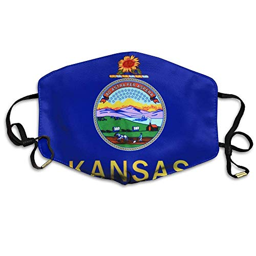 Kansas State Flag Printed Mask Neutral Mask for Men and Women Polyester Dust-Proof Breathable Mask -