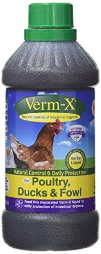 Verm-X Flüssig für Geflügel, 500 ml. Statt chemischer Wurmkur für Hühner, Gänse, Enten, usw. eine natürliche Kontrolle innerer Parasiten mit der bewährten Verm-X Kräuter-Rezeptur.