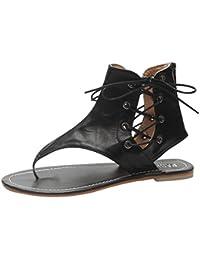 7885cef108cb Slolvedi Retro Women Tie Flat Gladiator Sandals Flip Flops Leather Shoes  (Black/38)