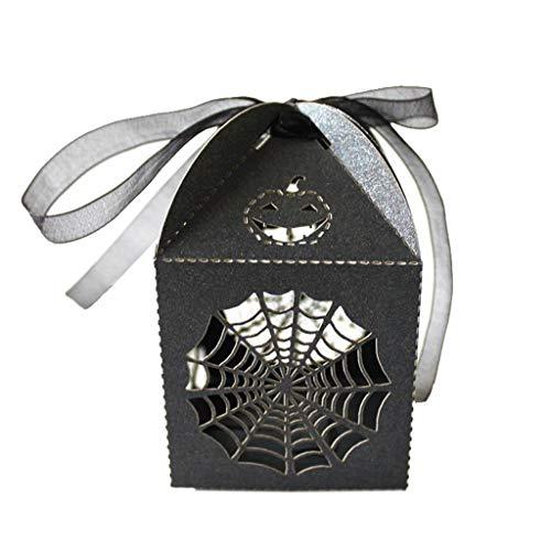 Tubayia 50 Stück Spinnwebe Süßigkeit Kästen Geschenkbox für Halloween Horror Thema Partei