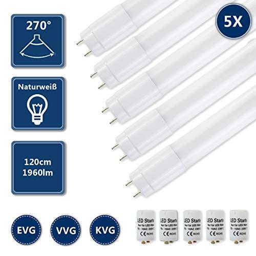 HOMEDEMO LED Röhre Leuchtstoffröhre 120cm T8 G13 Ersatz für Neonröhre 4000K Neutralweiß 17W 1960lm Lichtleiste Deckenleuchte Bürolampe inkl. Starter 5er Pack -