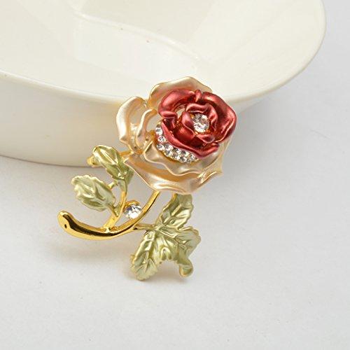 Fleur Rose Broche de Mode Doré en Strass Femme Bijou pr Mariage Rouge
