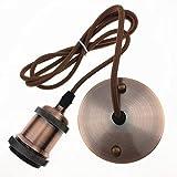 HU Fun life E27 Edison Lámpara de techo Lámpara colgante Portalámparas Cobre Retro Vintage Antiguo con cable de 1,4 metros (bronce rojo)