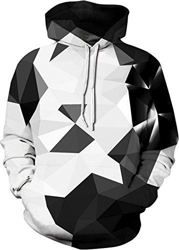 YuanYan Herren Lose Fit Hoodie - Langarm 3D Druck Muster Kapuzenpullover Sweatshirt Pullover Oversize für Herbst und Winter Schwarz Weiß