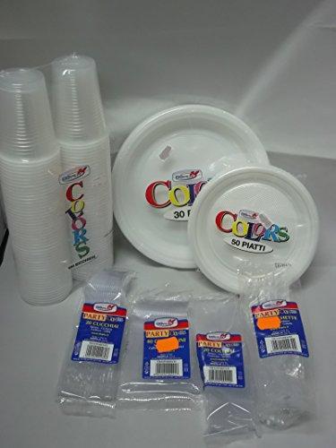 Set tavola party piatti bicchieri posate in plastica Dopla Trasparente