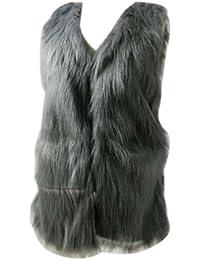 Chaleco Chaqueta Sin mangas Abrigo de Invierno Parka de piel sintética de pelo de las mujeres