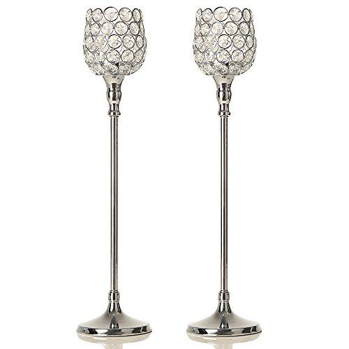 Vincigant 2pcs argento cristallo candeliere set per san valentino, matrimonio/holiday decorations centrotavola, altezza 47cm