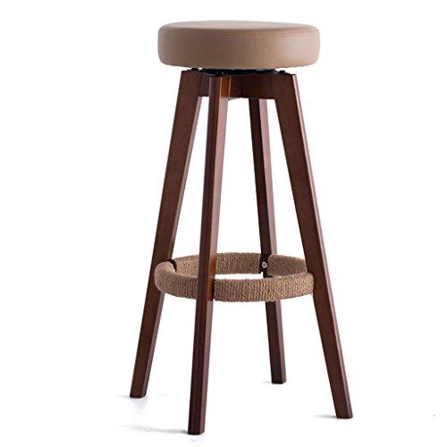 Moderno, semplice, legno massello, cuscino in pelle artificiale, può essere ruotato bar creativo seggiolone in stile europeo sedia in legno vintage bar sgabello altezza 65,5 cm