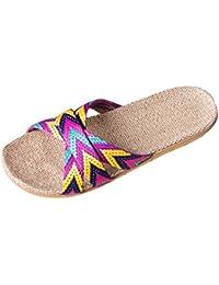 Koly Pantofole Donna Sandali Floreali Donna Calzature da Spiaggia morbide e morbide per Il Tempo Libero (Size 39, Beige)