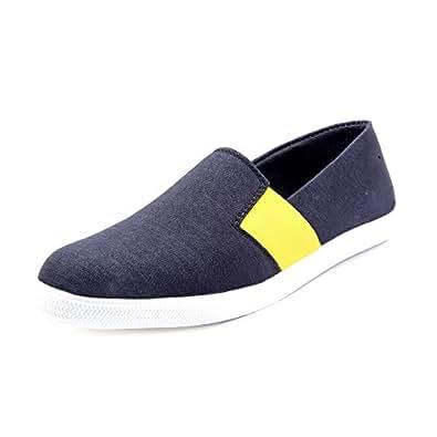 KNOOS Men's Black Canvas Shoes-10-NRI03-BL-10