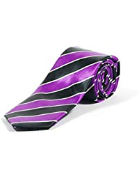 Retro Purple Black and White Diagnol Stripe Skinny School Style Tie