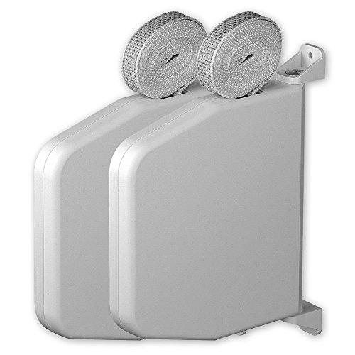 Set: 2 x Mini-Aufputz-Gurtwickler 'Magno', Farbe: weiß, inkl. Gurt 15 mm x 7 m Länge, Gurtfarbe: grau, Lochabstand: 166 mm, 180 Grad schwenkbar, von EVEROXX®