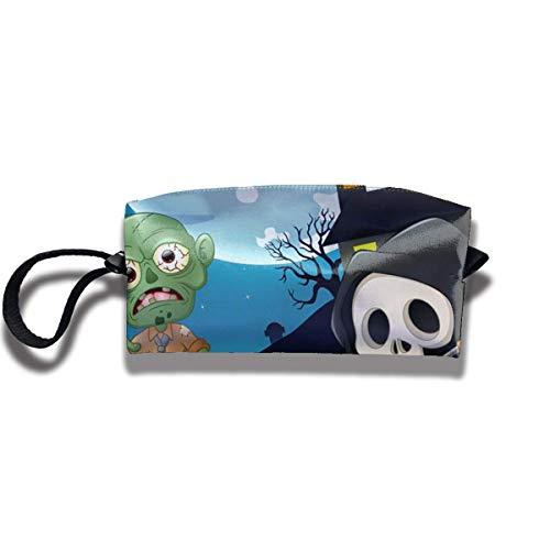 TRFashion Toiletry Bag Halloween Zombies and SkeletonsStorage Bag Beauty Case Wallet Cosmetic Bags Aufbewahrungstasche Kosmetiktasche (Niedliche Zombie-make-up Für Halloween)