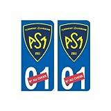 ASM Clermont Auvergne nouveau logo numéro au choix autocollant plaque immatriculation auto ville sticker - Angles : arrondis