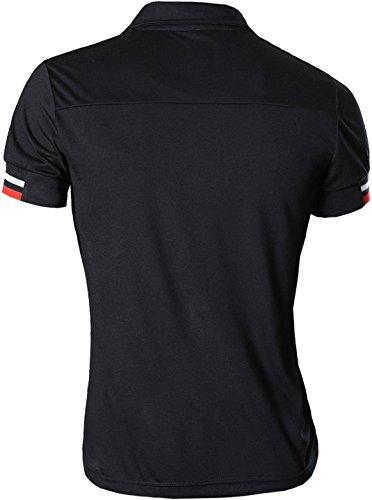 jeansian Herren Freizeit Slim Fit Short Sleeves Casual POLO T-Shirts D403 U007_Black