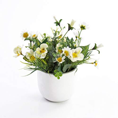 artplants.de Künstliche Stiefmütterchen und Margeriten Tamina im Topf, weiß - gelb, 20cm, Ø 23cm - Kunstblumen - künstliche Blumen