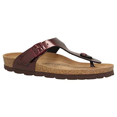Zweigut® -Hamburg- luftig #555 Damen Zehentrenner Sandalen Schuhe Sommer mit Soft Leder-Komfort-Fußbett, Schuhgröße:38, Farbe:weinrot (Rote Für Mädchen Schuhe Glitzer)