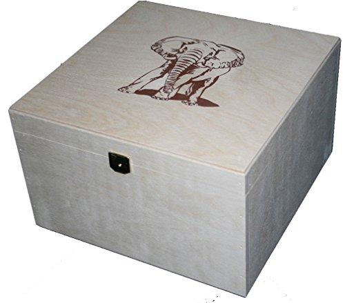 Schween24 Praktische Quadratische Aufbewahrungsbox Holzkiste mit Deckel 25.0x25.0x16.0 cm (Quadratische Aufbewahrungsbox)