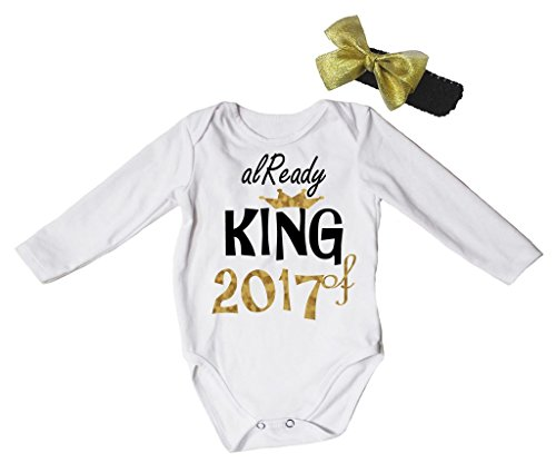 Petitebelle Already King of 2017 White L/s Bodysuit Romper Set Nb-18m (12-18 Months)
