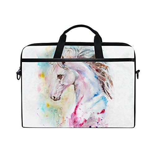 Jstel acquerello rosa e blu unicorno di custodia borsa Sleeve per 35,6cm a 39,6cm con tracolla per notebook regolabile