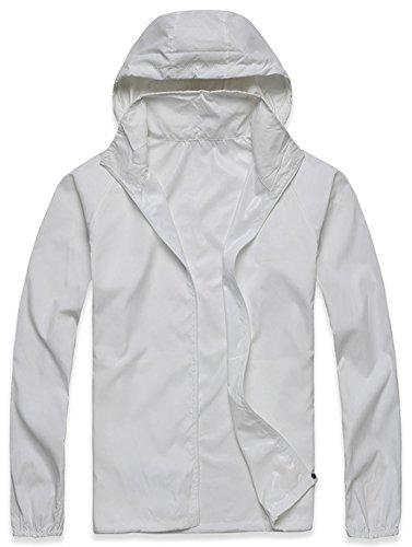 Mochoose Femme Légère Packable Veste de Sport à Capuche Protection UV Coupe Vent Imperméable à Séchage Rapide Blanc