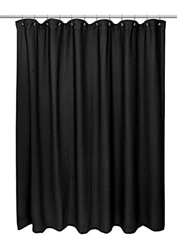 Carnation Home Fashions Waffle Weave Cotton Shower Curtain, Extra Long Size 72-Inch by 84-Inch, Black by Carnation Home Fashions