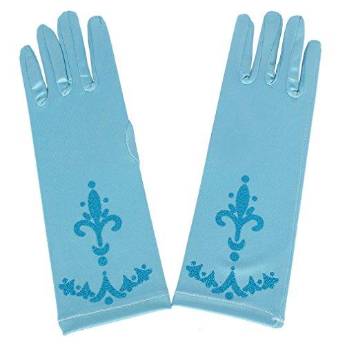 OMSMY Katara Prinzessin Elsa Kostüm Karneval Verkleidung Party Cosplay Handschuhe, Onesize, dunkelblau (hellblau)