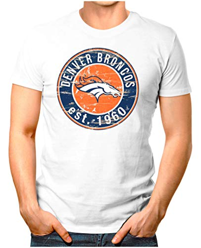 Austin Weißes T-shirt (OM3® - Denver-Badge - T-Shirt   Herren   American Football Shirt   L, Weiß)