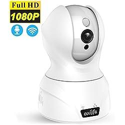 Kabellose Wifi IP Kamera, Coolife 2 Megapixel 1920x1080P Bis zu 128GB Überwachungskamera, Stereo 2 Wege Audio zum Gegensprechen, PIR Nachtsichtmodus Für Home Security Baby Haustier Video Weiß