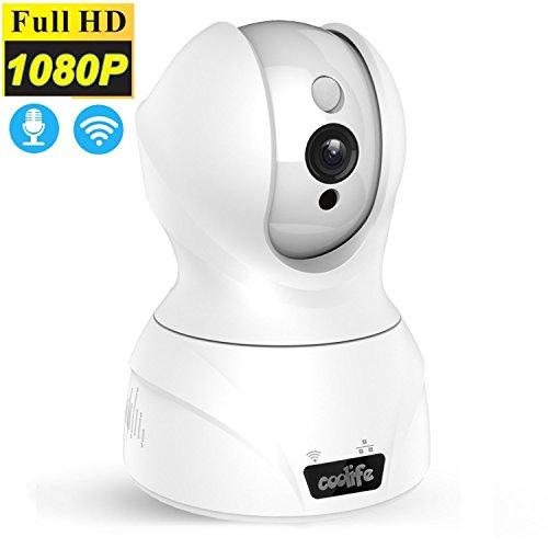 Sans fil Wifi Caméra IP, caméra Modohe 2 Mpx 1920 x 1080p jusqu'à 128 Go, audio stéréo 2 voies pour gegensprechen, PIR Vision nocturne pour Home Security Animal Bébé Vidéo Blanc