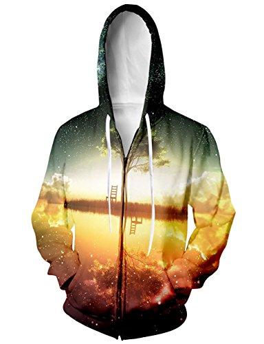 BFUSTYLE Unisex Galaxy Nebula Zip Up Hoodie All Over Print Jacket Sweatshirt 2016 style-Galaxy Tree 1