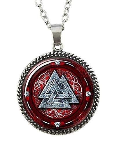 Unbekannt Générique Halskette mit Anhänger Valknut Wikinger Dreiecke