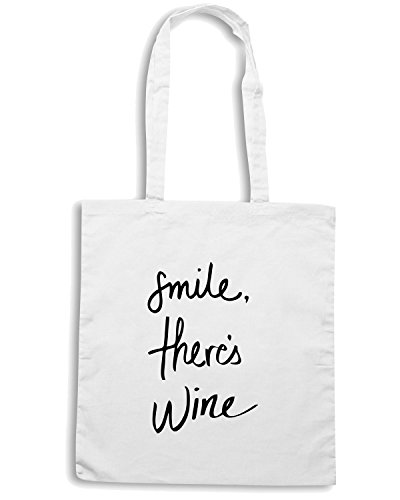 T-Shirtshock - Borsa Shopping CIT0196 smile ther is wine Bianco