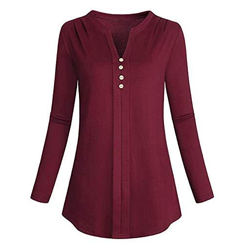 Luckycat Womens Fashion Plus Size Long Sleeve Cotton V-Neck Solid T-Shirt  Blouse ec470aada00b7
