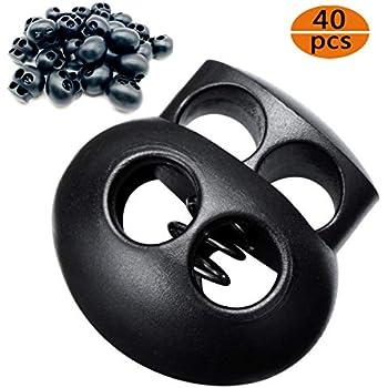 10 PACK - 2 Holes 3.6mm Drawstring Cord Locks Spring Toggles Black