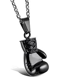 MunkiMix Acero Inoxidable Colgante Collar Boxeo Guantes Hombre ,Cadena 58cm