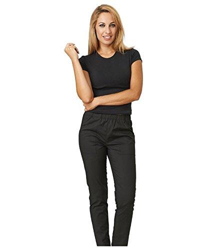 SIGGI - Pantaloni 'Happy' donna in poliestere e cotone, colori vari. Due tasche e girovita elasticizzato. Peso al mq. gr. 130. - Taglia: S - Varianti: bianco