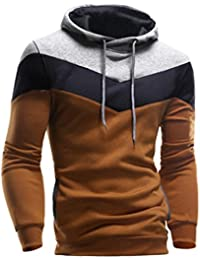 Bluestercool Sweat-shirt hommes rétro à capuche manche longue fashion épissage Tops